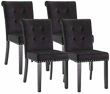 Vanimeu Set of 4 Black Velvet Dining Chair with