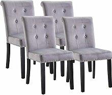 Vanimeu Set of 4 Grey Velvet Studded Dining Chair