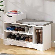 Vanimeu White 3 Tier Shoe Racks Storage Bench with
