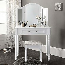 Vanimeu White Dressing Table with Drawers and 3