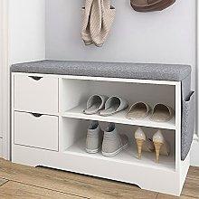 Vanimeu White Shoe Bench Storage with Seat Hallway