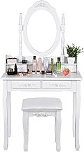 Vanity Table Set with Oval Mirror with 4 Drawers