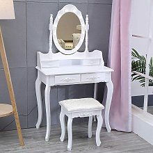Vanity Table Stool Dressing Makeup with Light Mirror Bedroom Drawers Chair Set