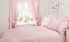 Vantona Monique Pink Unlined Curtains with Tie