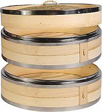 Vaorwne 2 Tier Kitchen Bamboo Steamer with Double