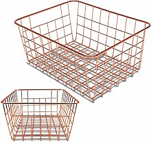 Vaorwne Rose Gold 2 Pack Wire Basket Set,Storage