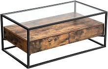 VASAGLE Coffee Table, Tempered Glass Top with 2