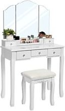 VASAGLE Dressing Table with 5 Drawers, Makeup Desk