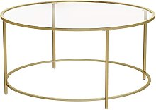 VASAGLE Round Coffee Table, Glass Table with