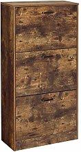 VASAGLE Shoe Cabinet With 3 Flip Doors, 3-Tier