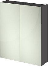 Vasari Apex Grey Gloss Double Door Mirror Cabinet