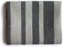 Vaxbo Lin - Big Black Striped Linen Bath Towel