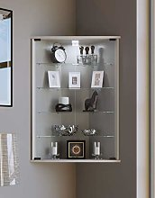 VCM Corner Display Cabinet Vecko with Feet,Silver,