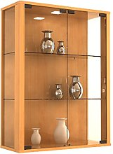VCM Wall Cabinet Udina, Beech/with LED Lighting
