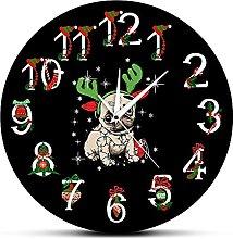 Vcnhln Pug Printed Ornament Wall Clock Funny XMAS