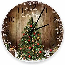 Vcnhln Wall Clock Battery Operated Round Wood