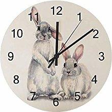 Vcnhln Wall Clock Rabbit Watercolor Bunny Wooden