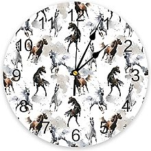 Vcnhln Watercolor Chinese style horse wall clock