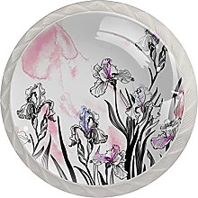 Vector Pattern with Irises, 4 Pack Cabinet Drawe