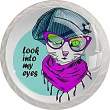 Vector White Cat with Glasses and Cap 4 Pack Round