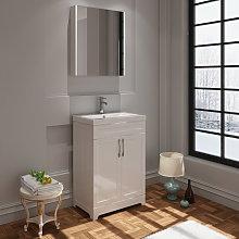 VeeBath Carlton White Vanity Basin Unit & Mirror