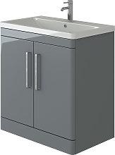 VeeBath Ceti Vanity Basin Cabinet Light Grey Gloss