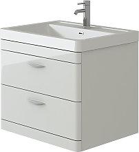 VeeBath Cyrenne White Wall Mounted Bathroom Vanity