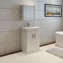 VeeBath Nour White Gloss Vanity Sink Unit & Mirror