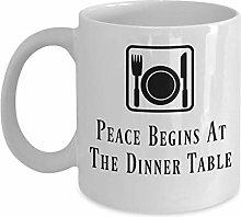 Vegan Coffee Mug Peace Begins at The Dinner Table