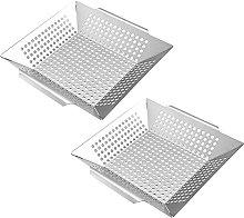 Vegetable Grill Basket Pan Stainless Steel