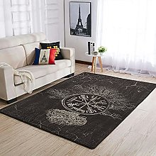 Vegvisir and Tree of life Area Rug Patterned Warm