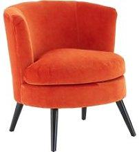 Vekota Round Plush Velvet Upholstered Armchair In