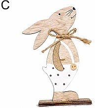 Vektenxi Easter Rabbit Wooden Stand Cute Cartoon