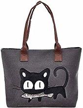 Vektenxi Natural Canvas Shoulder Tote Bags Cats
