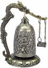 Vektenxi Vintage Lock Dragon Carved Good Luck Bell