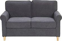 Velvet 2 Seater Sofa Dark Grey Upholstery Pocket
