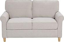 Velvet 2 Seater Sofa Light Beige Upholstery Pocket