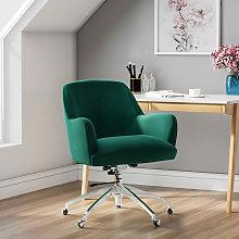 Velvet Adjustable Swivel Office Chair, Green