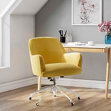Velvet Adjustable Swivel Office Chair, Yellow
