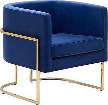 Velvet Armchair Dark Blue SIRKKA