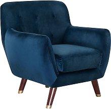 Velvet Armchair Navy Blue BODO