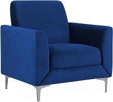 Velvet Armchair Navy Blue FENES