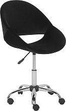 Velvet Armless Desk Chair Black SELMA