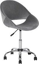 Velvet Armless Desk Chair Grey SELMA