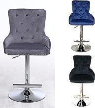 Velvet bar stool with knocker - Black (Grey)