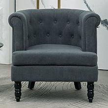 Velvet Buttoned Armchair Tub Fireside Chair,Dark