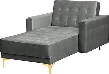 Velvet Chaise Lounge Grey ABERDEEN