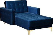 Velvet Chaise Lounge Navy Blue ABERDEEN