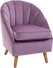 Velvet Covered Shell Back Chair Wood Frame Home