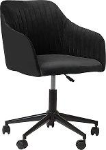 Velvet Desk Chair Black VENICE